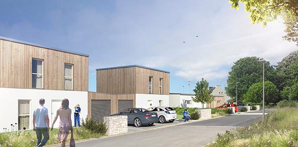 Finistère Habitat pose la première planche de 5 logements individuels, à Plouider.
